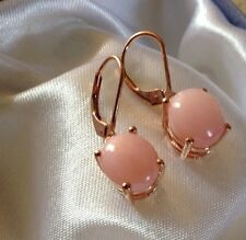 5.75 Ct Peruvian PInk Opal Lever Back Earrings In Rose Gold On Sterling Silver
