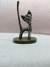 Vintage Retro Silver Plated Ring Holder with a Green Onyx Effect Base