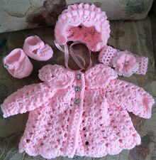 hand crochet baby cardigan Bonnet Shoes Headband size 0-3 Months Romany