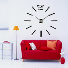 Giant Vinyl Adhesive Stainless Big Black Wall Clock Sticker Home Decoration