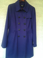 DKNY Donna Karah New York women's peacoat double breasted button wool Purple 10
