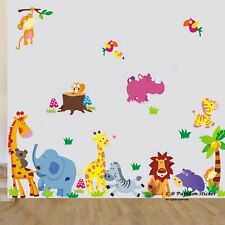 16S1-Jungle Animal/Giraffe/Owl/Fox/koala/lion/Monkey Nursery Wall Sticker Decal