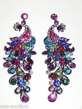 PRETTY AS A PEACOCK MULTI COLOR RHINESTONE CRYSTAL DROP PARTY EARRINGS