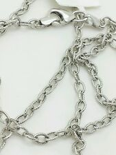 "14k White Gold Textured Oval Cable Link Pendant Necklace Chain 24"" 2.5mm"
