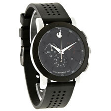 Movado Museum Mens Black Dial Chronograph Swiss Quartz Watch 0606545