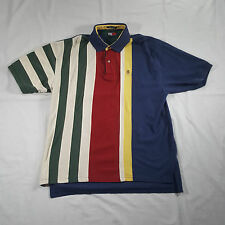 Tommy Hilfiger Multi-color Striped Polo Shirt XL Lion Crest Vtg 90s colorblock