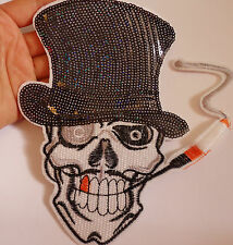 extra large sequin applique skull patch iron on sew on motif badge UK 16cm