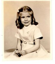 """Young Girl School Picture - Vintage 1950's B&W Photo 3 1/4"""" x 2 5/8"""""""