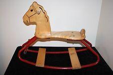 "Vintage RARE Radio Flyer Wood Rocking Horse 19"" H x 24.5"" L seat height 9.75""H"