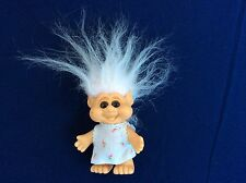 "I.T.B. 1992 Vintage Troll Doll 3.5"" Tall Big Cheeks & Eyes, White Hair"
