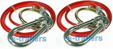 2x RED TRAILER BREAKAWAY BRAKE CABLE - IFOR WILLIAMS CARAVAN HORSEBOX BOAT PLANT