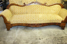 Charming Antique Empire Style Mahogany Long Sofa