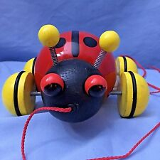 Vintage Wood Ladybug Pull Toy, made by Vilac CE (France) Hops and makes noise!