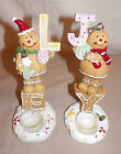 """NEW GINGERBREAD MAN OR WOMAN HOLDING COOKIE LETTERS TEA LIGHT CANDLE HOLDERS 9"""""""