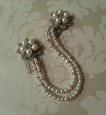 Bridal Floral Ivory Pearl Diamante Double Hair Comb Forehead Bun Wrap Vintage