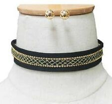 Adjustable Gold Tone Net Pattern Black Fabric Sueded Choker H: 20mm