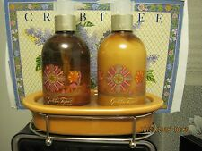 CRABTREE EVELYN GOLDEN TOPAZ HAND WASH + HAND LOTION SET~CERAMIC DISH+CRADLE~NEW