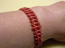 ANTIQUE, DEEP RED  NATURAL  CARVED CORAL  BRACELET, STERLING SILVER CLASP,7 GR