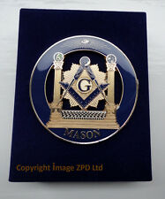 Miniature Freemason Masonic Working Tools Set Velvet Presentation Box with Badge