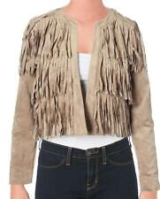 SAM EDELMAN Designer $209 Tan Suede Fringed Open Front Jacket SZ XS NWT