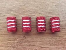 Car Motorcycle Trike ATV Quad Tyre Valve Dust Caps Red Set of 4