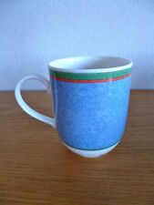 Villeroy & Boch Tipo Viva 1 Coffee Mug  Blue Dimpled w/Red & Grn Bands 3 3/4""