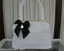BETSEY JOHNSON BE MINE DOME SATCHEL PERFORATED HEARTS HANDBAG PURSE WHITE NWT