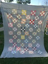 VINTAGE NINE PATCH QUILT TOP SET IN BLUE & PINK FLORAL CALICO