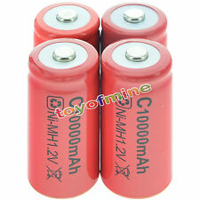 4x C size 1.2V 10000mAh Ni-MH Red Color Rechargeable Battery USA