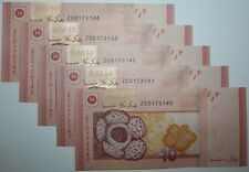 (PL) RM 10 ZC 0173140-144 UNC 1 ZERO 5 PIECES LOW NUMBER REPLACEMENT NOTE