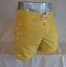 LACOSTE Yellow Poplin Lettering Nylon Men's Swim Trunks Board Shorts NEW Size L
