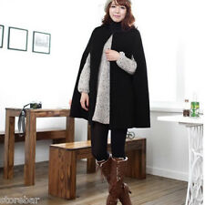 Black Women Cape Coat Batwing Cloak Loose Casual Poncho Warm Jacket Outerwear XL