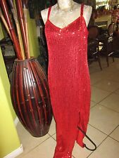"""WOW! Impressions Elegant! Long RED Sequin Dress 23""""Slit No Size Tag 19"""" Bust"""