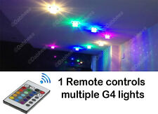1X RGB COLOUR CHANGING With Remote G4 12V LED Cabinet Marine Camper Light Bulb