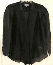 Maiyet Silk Poet Blouse Sheer Black Tuxedo Sz 36/4 French Plunging