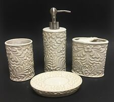 4 PC CERAMIC TAN,BEIGE,IVORY 3D FLORAL SOAP DISPENSER+DISH+TUMBLER+TOOTHBRUSH