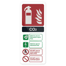 CO2 EN3 Fire Extinguisher Sign 202 x 82mm Rigid  Signage Safety Signs