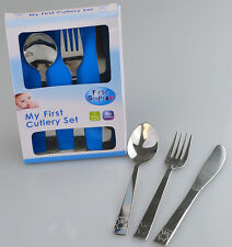 "First Steps Stainless Steel ""My First Cutlery Set"" with Spoon Knife & Fork"
