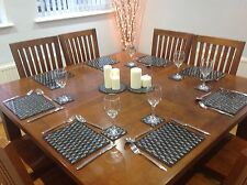 Placemats & Coasters 12 Pcs Set Table Protection Black Silver Glitter Table Mats