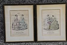 1848 Petit Courrier Des Dames, Paris Framed Hand Colored Prints #2370 & #2337