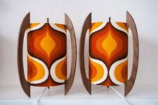 Pair of Psychedelic Spaceage Walnut Rocket Lamps Danish Panton Retro
