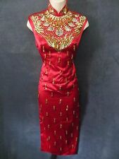 Sexy Vintage Red Satin Mandarin Gold Hanging Beads Sequin Asian Wiggle Dress S