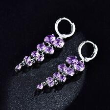 Wholesale Purple Swarovski Crystal White Gold Filled Chandelier Dangle Earrings