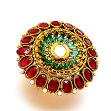 Ring One Two Gram Gold Plated Kundan Pearl Ad Jade Adjustable Jewelry Set 7341