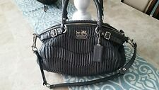 COACH MADISON LINDSEY GATHERED LEATHER GUNMETAL SATCHEL HANDBAG #18620
