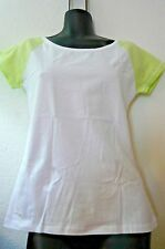 NEW WOMAN'S KNIT TOP-SZ S-BASEBALL STYLE -SPRING GREEN AND WHITE