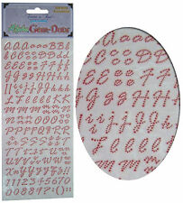Card Making Stickers Sheet, Alphabet Letters & Numbers, Gem Embellishment - Red