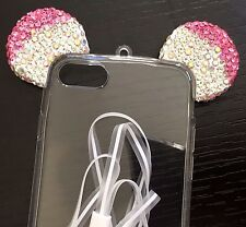 For iPhone 7 - HARD TPU RUBBER GEL CASE COVER CLEAR PINK MOUSE EAR DIAMOND BLING