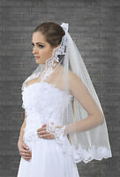 1 Tier White or Ivory Wedding Lace Edge Bridal Elbow Veil With Comb 32""