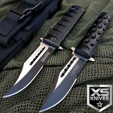 2PC SET Black Spring Assisted Open SAWBACK BOWIE Tactical Rescue Pocket Knife